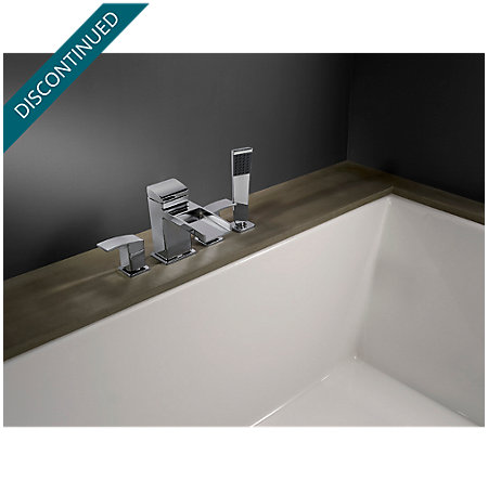 Polished Chrome Kenzo 4-Hole Trough Roman Tub with Handshower, Trim Only - RT6-4DFC - 2