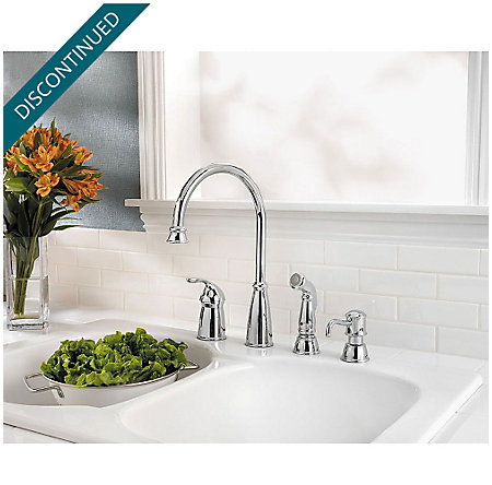 Polished Chrome Avalon 1-Handle Kitchen Faucet - T26-4CBC - 2