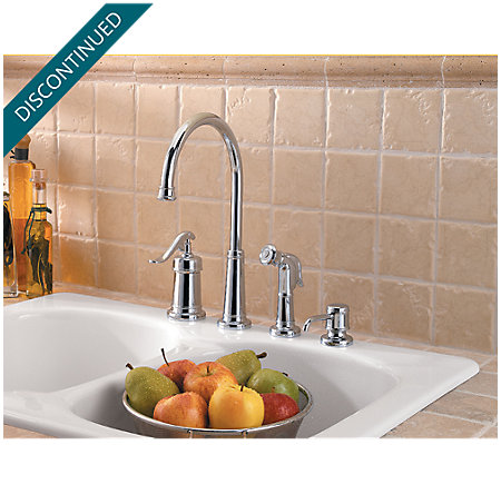 Polished Chrome Ashfield 1-Handle Kitchen Faucet - T26-4YPC - 2