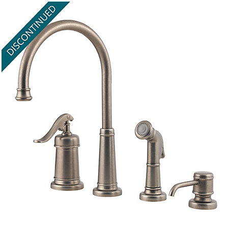 Rustic Pewter Ashfield 1-Handle Kitchen Faucet - T26-4YPE - 1