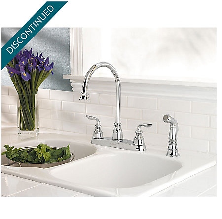 Polished Chrome Avalon 2-Handle Kitchen Faucet - T36-4CBC - 2