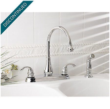 Polished Chrome Treviso 2-Handle Kitchen Faucet - T36-4DCC - 2