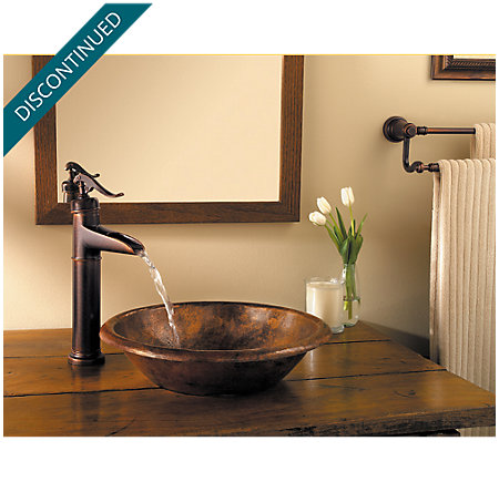 Rustic Bronze Ashfield Vessel, Single Control Bath Faucet - T40-YP0U - 2