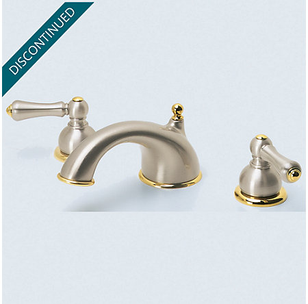 Brushed Nickel / Polished Brass Georgetown Widespread Bath Faucet - T49-BPXK - 3