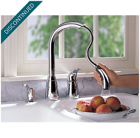 Polished Chrome Contempra 1-Handle Kitchen Faucet - T526-5CC - 5