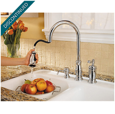 Polished Chrome Hanover 1-Handle, Pull-out/Pull-Down Kitchen Faucet - T526-TMC - 6