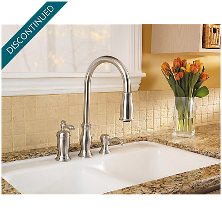 Stainless Steel Hanover 1-Handle, Pull-out/Pull-Down Kitchen Faucet - T526-TMS - 4