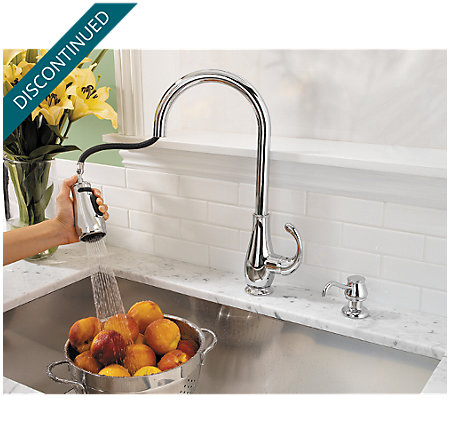 Polished Chrome Treviso 1-Handle, Pull-Down Kitchen Faucet - T529-DCC - 2