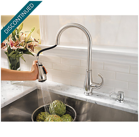 Stainless Steel Treviso 1-Handle, Pull-Down Kitchen Faucet - T529-DSS - 4
