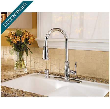 Polished Chrome Hanover 1-Handle, Pull-out/Pull-Down Kitchen Faucet - T529-TMC - 4