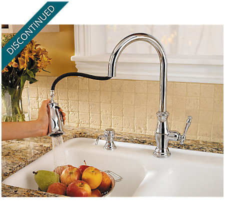 Polished Chrome Hanover 1-Handle, Pull-out/Pull-Down Kitchen Faucet - T529-TMC - 6