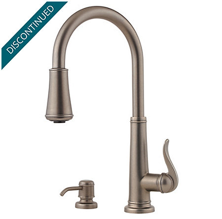 Rustic Pewter Ashfield 1-Handle, Pull-Down Kitchen Faucet - T529-YPE - 1