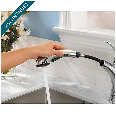 Polished Chrome Clairmont 1-Handle, Pull-out/Pull-Down Kitchen Faucet - T534-CMC - 5