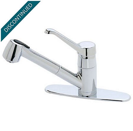 Polished Chrome Genesis 1-Handle, Pull-out/Pull-Down Kitchen Faucet - T538-6CC - 1