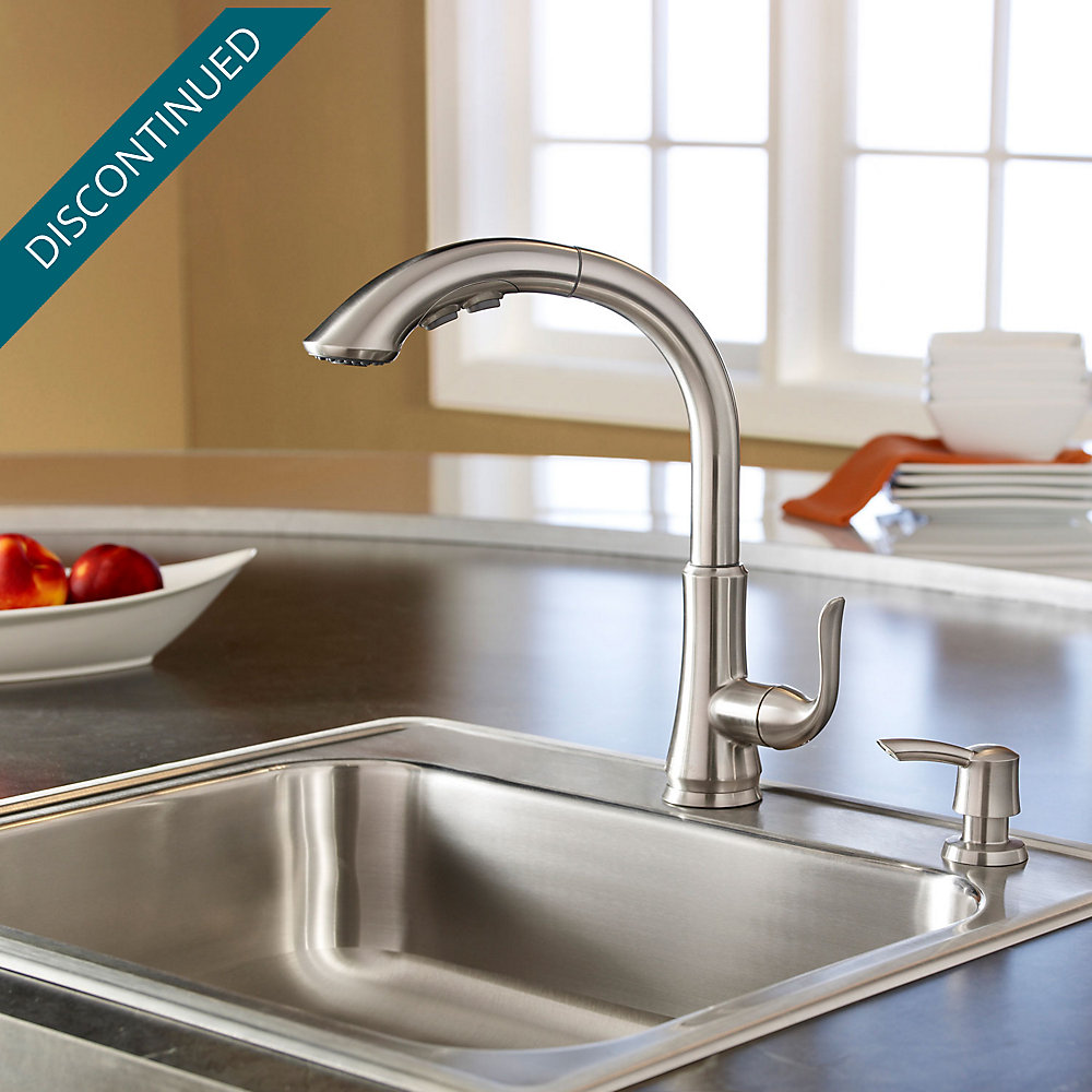 Stainless Steel Avalon 1-Handle, Pull-Out Kitchen Faucet - F-529 ...