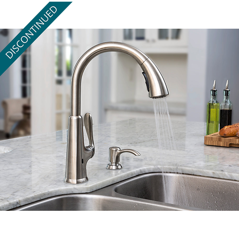 pull touchless sprayer x touch moen down single faucets haysfield handle kitchen electronic