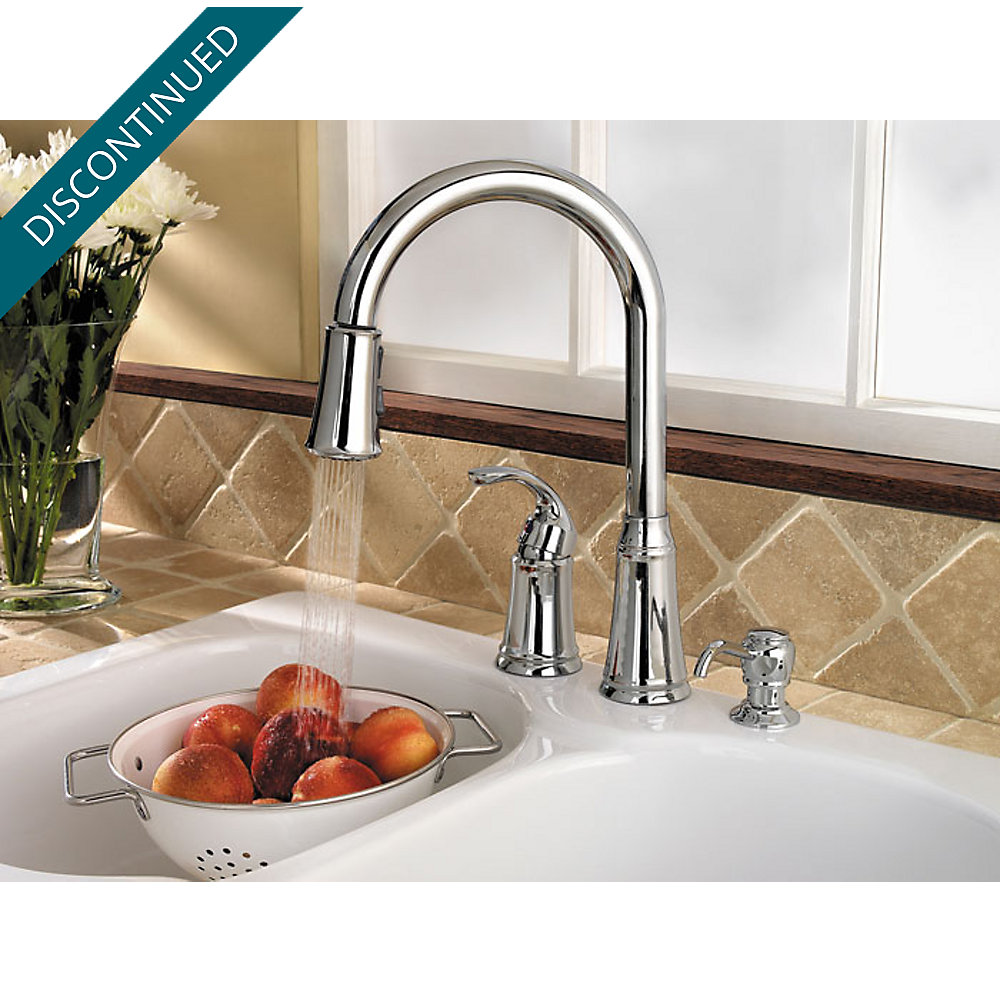 Polished Chrome Classic 1-Handle, Pull-Down Kitchen Faucet - F-WKP ...