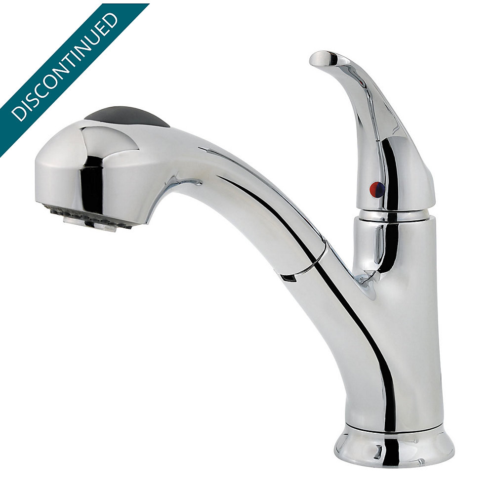 Polished Chrome Classic 1-Handle, Pull-Out/Pull-Down Kitchen Faucet ...