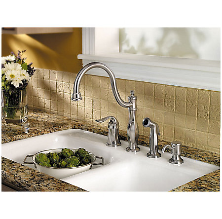 Stainless Steel Cadenza 1-Handle Kitchen Faucet with Side Spray & Soap Dispenser - LF-026-4TWS - 2