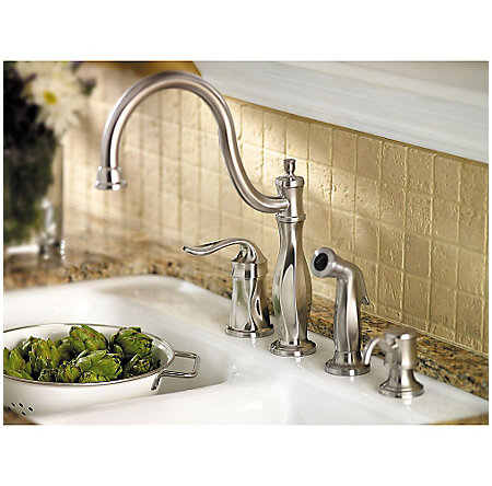 Stainless Steel Cadenza 1-Handle Kitchen Faucet with Side Spray & Soap Dispenser - LF-026-4TWS - 5