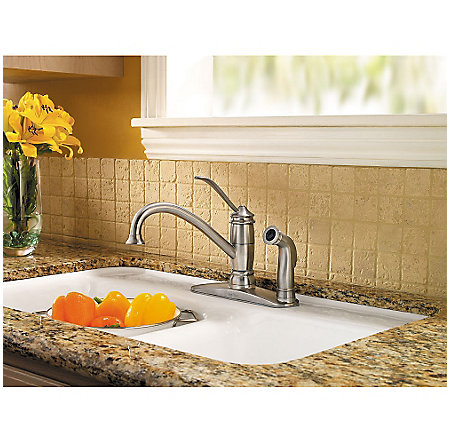 Stainless Steel Brookwood 1-Handle Kitchen Faucet - LF-034-3ALS - 2