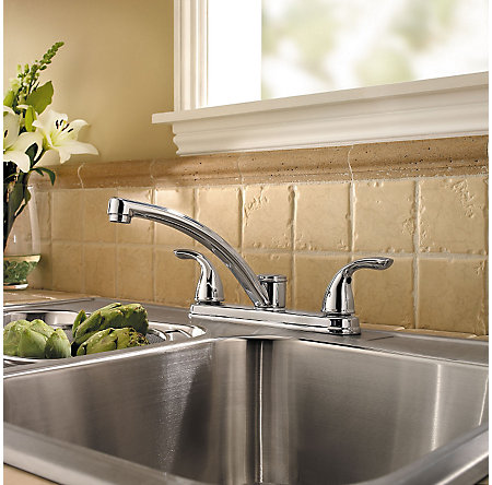 Polished Chrome Delton 2-Handle Kitchen Faucet - LF-035-3THC - 2