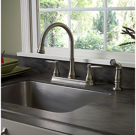 Stainless Steel Glenfield 2-Handle Kitchen Faucet - F-036-4GFS - 2