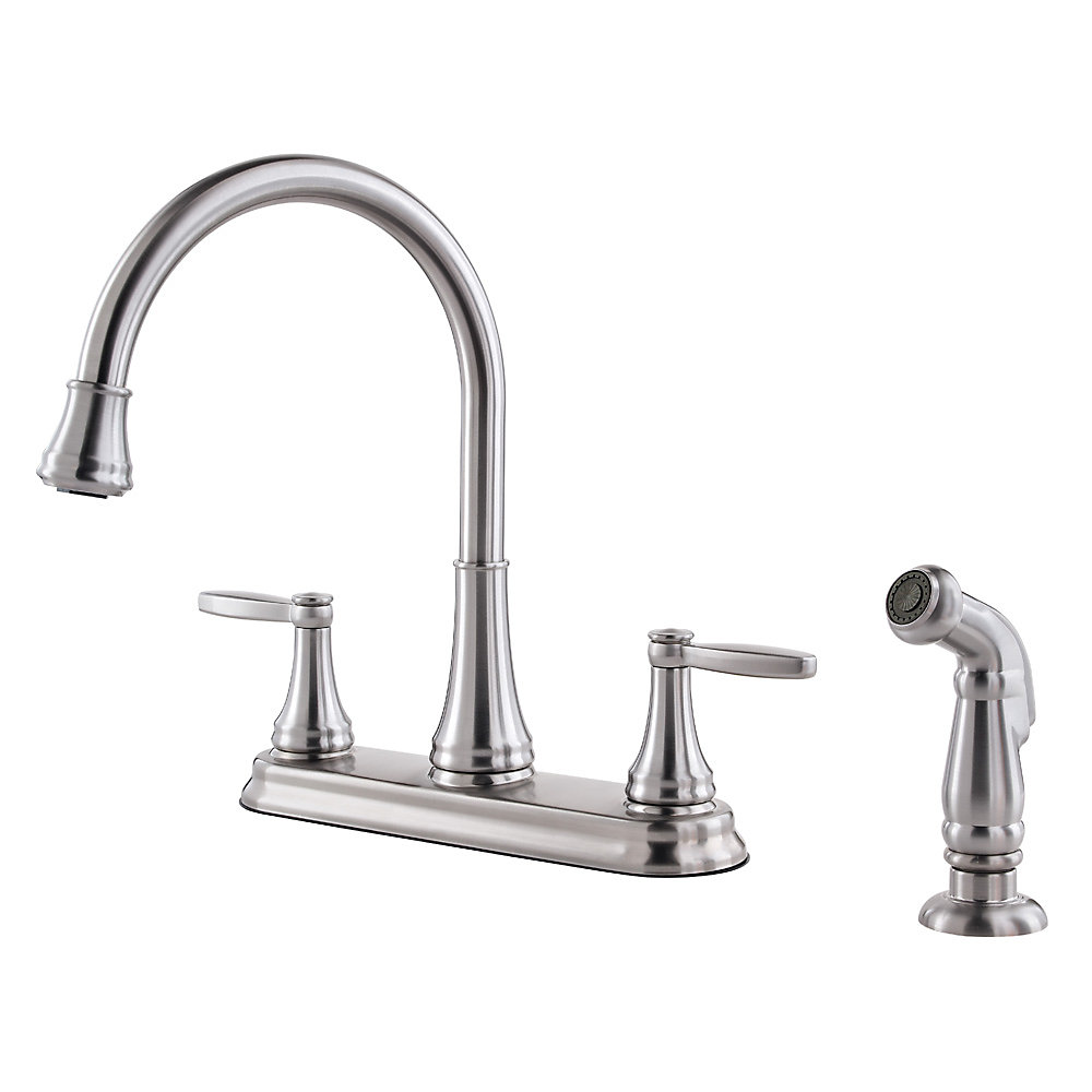 Stainless Steel Glenfield 2 Handle Kitchen Faucet   F 036 4GFS   1