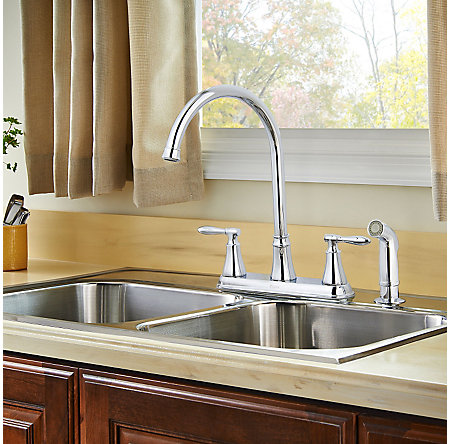 Polished Chrome Glenora 2-Handle Kitchen Faucet - F-036-4GNC - 3