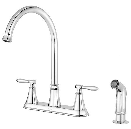 Polished Chrome Glenora 2-Handle Kitchen Faucet - F-036-4GNC - 1