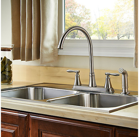 Stainless Steel Glenora 2-Handle Kitchen Faucet - F-036-4GNS - 3