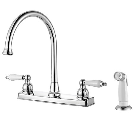 polished chrome henlow 2 handle kitchen faucet f 036 4hlc 1 - Pfister Kitchen Faucet