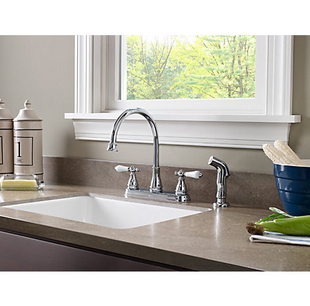 Polished Chrome Sonterra 2-Handle Kitchen Faucet - F-036-4SNC - 2