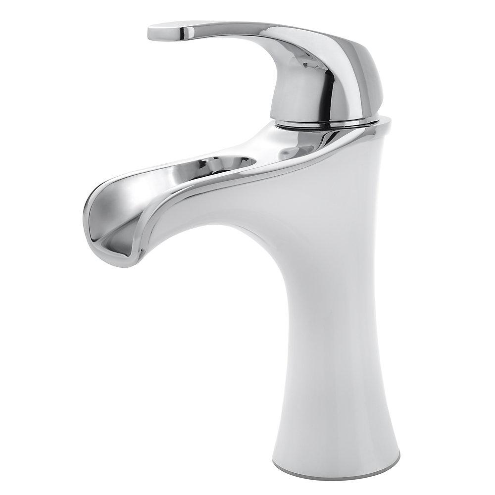 Polished Chrome / White Jaida Single Control, Centerset Bath Faucet ...