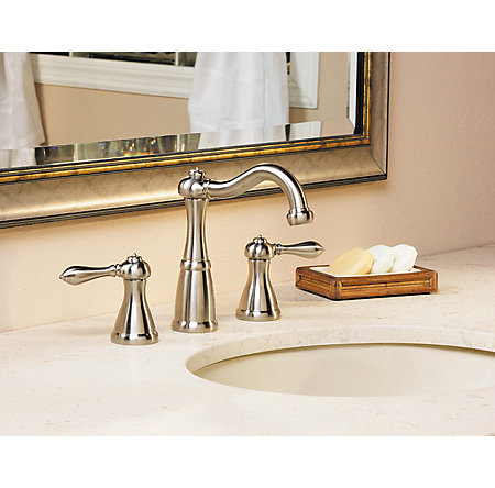 Brushed Nickel Marielle Widespread Bath Faucet - LF-049-M0BK - 3