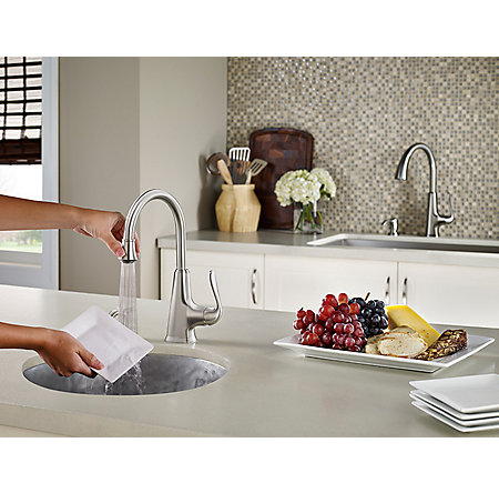 Stainless Steel Pasadena 1 Handle Bar and Prep Faucet With Soap Dispenser - F-072-PDSS - 3