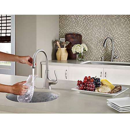 Stainless Steel Pasadena 1 Handle Bar and Prep Faucet With Soap Dispenser - F-072-PDSS - 4
