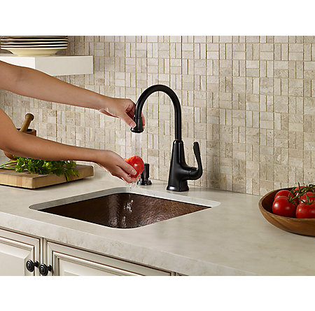 Tuscan Bronze Pasadena 1 Handle Bar and Prep Faucet With Soap Dispenser - F-072-PDYY - 2