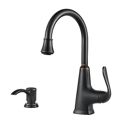 Tuscan Bronze Pasadena 1 Handle Bar and Prep Faucet With Soap Dispenser - F-072-PDYY - 1
