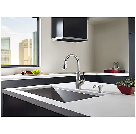 Stainless Steel Vosa 1-Handle Pull Down Bar and Prep Faucet With Soap Dispenser - F-072-VVSS - 2