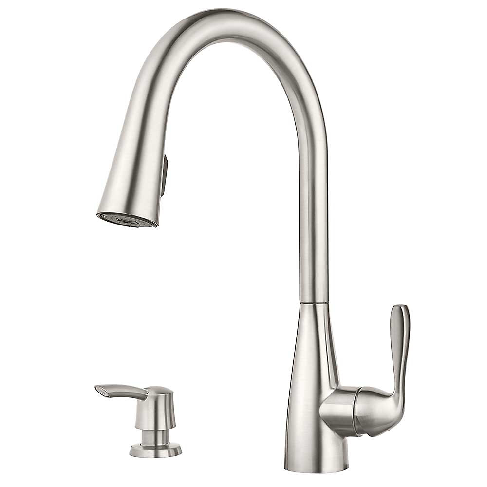 Stainless steel lima pulldown kitchen faucet f 529 6lms 1