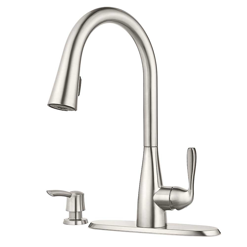 mount pull handle faucet shelton shop out faucets kitchen stainless pfister deck steel pd