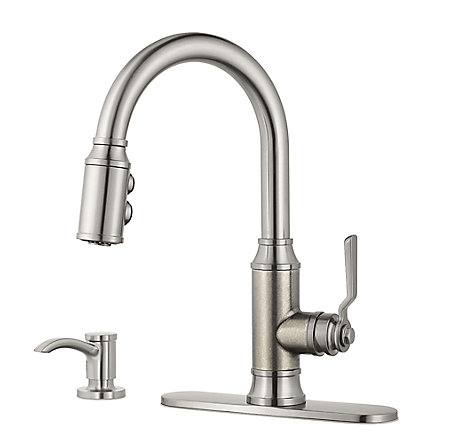 Stainless Steel Breckenridge Pull-Down Kitchen Faucet - F-529-7BCSE - 2