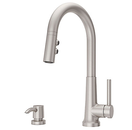 Spot Defense Stainless Steel Crete 1-Handle Pull Down Kitchen Faucet - F-529-7CEGS - 1
