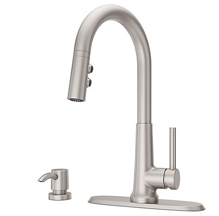 Spot Defense Stainless Steel Crete 1-Handle Pull Down Kitchen Faucet - F-529-7CEGS - 2