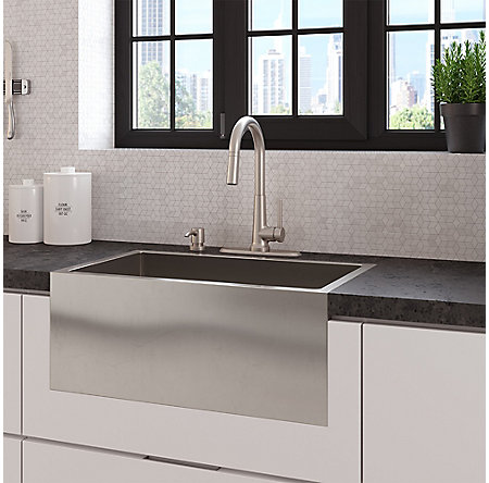 Spot Defense Stainless Steel Crete 1-Handle Pull Down Kitchen Faucet - F-529-7CEGS - 7