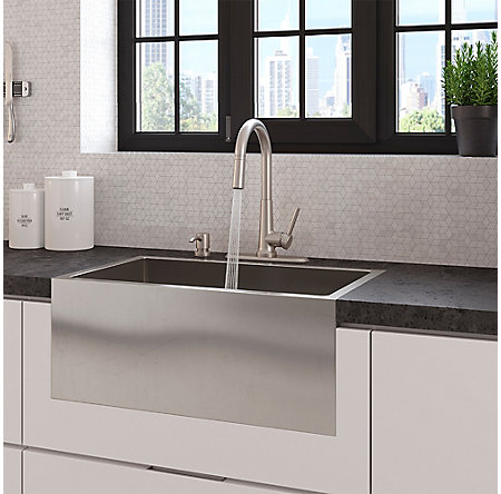 Spot Defense Stainless Steel Crete 1-Handle Pull Down Kitchen Faucet - F-529-7CEGS - 8