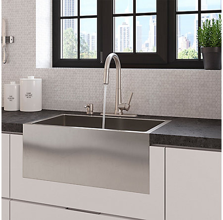 Spot Defense Stainless Steel Crete 1-Handle Pull Down Kitchen Faucet - F-529-7CEGS - 9