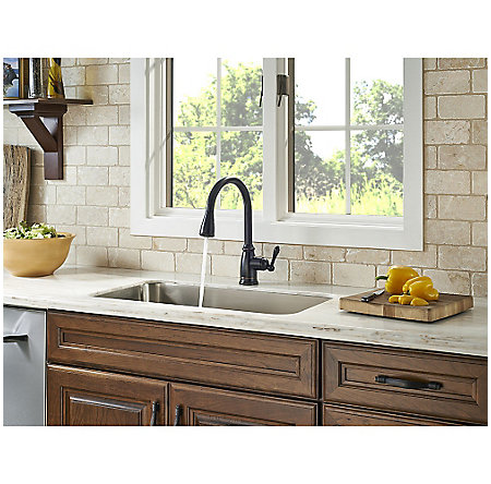 tuscan bronze canton pull down kitchen faucet f 529 7cny 4 - Tuscan Kitchen Sinks