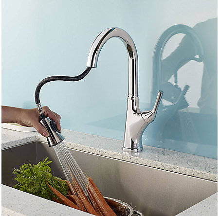 Polished Chrome Cantara 1-Handle Pull-Down Kitchen Faucet - F-529-7CRC - 5